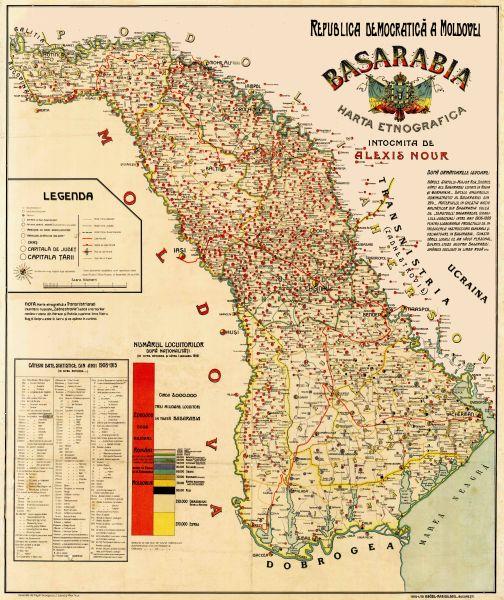 Republica Democratică Moldovenească a fost un stat efemer a cărui autonomie față de Imperiul Rus a fost proclamată la 2 decembrie 1917 de către Sfatul Țării din Basarabia, organ reprezentativ al populației din regiune, ales în octombrie-noiembrie 1917, odată cu începuturile Revoluției rusești din februarie a aceluiași an și cu dezintegrarea puterii politice din Imperiul Rus. Inițial, Republica Democratică Moldovenească a fost declarată parte a unei viitoare Rusii federale, dar la 24 ianuarie 1918 și-a proclamat independența. La 27 martie/9 aprilie 1918, Sfatul Țării, organul conducător al republicii, a votat unirea Republicii Democratice Moldovenești cu România - foto preluat de pe ro.wikipedia.org