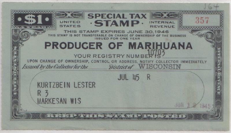 Tax stamp for a producer of hemp - foto preluat de pe en.wikipedia.org