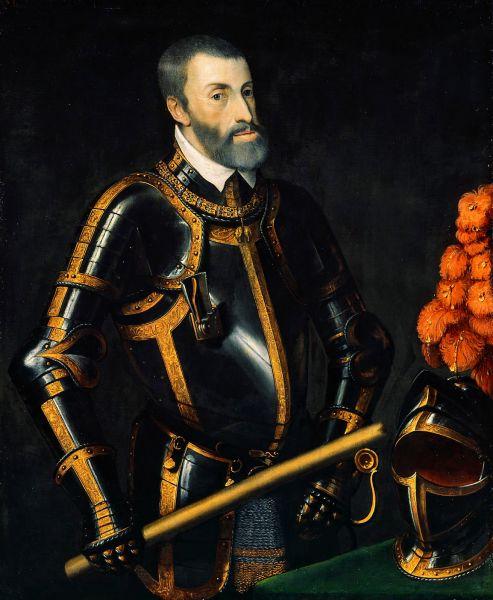 """Carol al V-lea (n. 24 februarie 1500 – d. 21 septembrie 1558) a fost împărat romano-german din 1519, până la abdicarea sa în 1556. A domnit, de asemenea, ca rege al Spaniei, cu titulatura """"Carol I"""", din 1516 până în 1556. Ca moștenitor a patru dintre casele regale importante din Europa, a realizat o uniune personală a unor teritorii întinse și dispersate, incluzând Sfântul Imperiu Roman, Aragon, Castilia, Napoli, Sicilia, Țările de Jos și coloniile spaniole din Americi. Când a renunțat la tron, și-a împărțit ținuturile între fiul său, Filip al II-lea al Spaniei, și fratele său, împăratul Ferdinand I - foto preluat de pe en.wikipedia.org"""