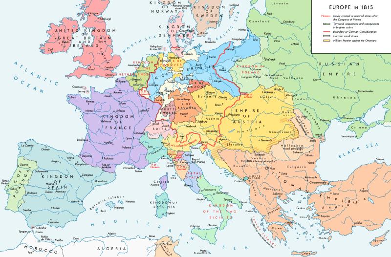 The national boundaries within Europe set by the Congress of Vienna - foto preluat de pe en.wikipedia.org