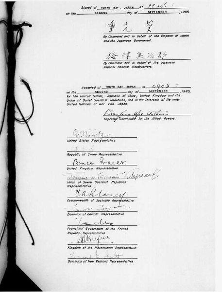 Capitularea Japoniei (2 septembrie 1945) -Pagina cu semnături a Actului capitulării Japoniei - foto preluat de pe ro.wikipedia.org