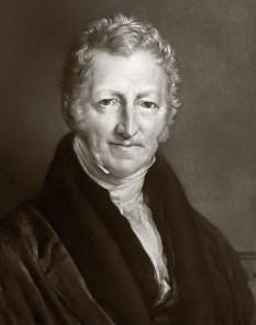 Thomas Robert Malthus (n. 14 februarie 1766 — d. 23 decembrie 1834), teoretician economic englez, fondatorul teoriei care îi poartă numele, conform căreia populația crește în progresie geometrică, în timp ce mijloacele de subzistență cresc în progresie aritmetică - foto: cersipamantromanesc.wordpress.com
