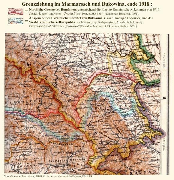 Revendicări și frontiere prevăzute în Bucovina, 1918 - foto preluat de pe ro.wikipedia.org
