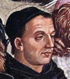 """Fra Angelico, (c. 1395 – 18 februarie 1455) pictor renascentist timpuriu, cel mai valoros reprezentant al pictorilor de inspirație sacră din quattrocento. Este menționat în lucrarea lui Giorgio Vasari Viețile artiștilor ca având un """"talent rar și desăvârșit"""" - in imagine, Fra Angelico - Portret postum al lui Fra Angelico de Luca Signorelli, Frescă (detaliu) din Capela San Brizio, Domul din Orvieto - foto: ro.wikipedia.org"""