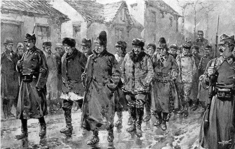 Răscoala Țărănească din 1907 - Infanteria escortează țăranii prin Piatra Neamț. - foto preluat de pe ro.wikipedia.org