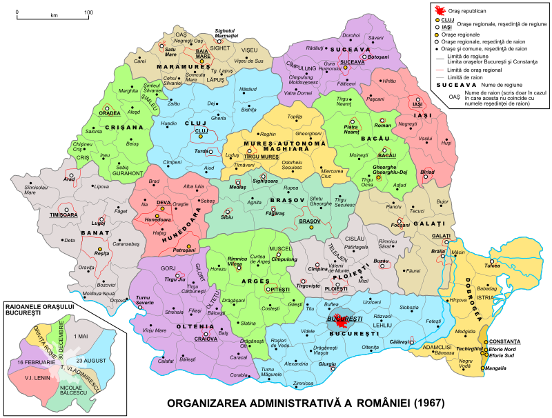 Împărţirea administrativ-teritorială a României (1960-1968) - foto: ro.wikipedia.org
