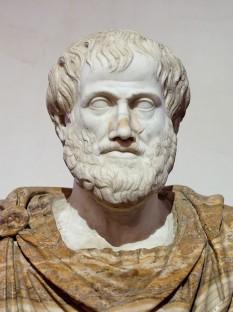 Aristotel (în greacă: Αριστοτέλης, Aristoteles) (n. 384 î.Hr. - d. 7 martie 322 î.Hr.) a fost unul din cei mai importanți filozofi ai Greciei Antice, clasic al filozofiei universale, spirit enciclopedic, fondator al școlii peripatetice. Deși bazele filozofiei au fost puse de Platon, Aristotel este cel care a tras concluziile necesare din filozofia acestuia și a dezvoltat-o, putîndu-se cu siguranță afirma că Aristotel este întemeietorul științei politice ca știință de sine stătătoare. A întemeiat și sistematizat domenii filozofice ca Metafizica, Logica formală, Retorica, Etica. De asemenea, forma aristotelică a științelor naturale a rămas paradigmatică mai mult de un mileniu în Europa. (Bust of Aristotle. Marble, Roman copy after a Greek bronze original by Lysippos from 330 BC; the alabaster mantle is a modern addition) - foto: en.wikipedia.org