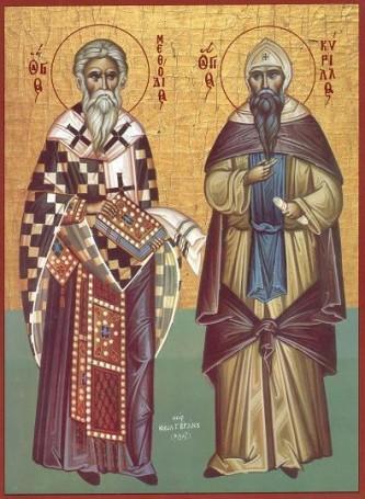 Părinții noștri în rând cu sfinții Chiril și Metodie au fost doi frați care au dus credința ortodoxă popoarelor slave din centrul Europei în secolul al IX-lea. Pregătindu-și propovăduirea printre slavi, ei au inventat alfabetul glagolitic pentru a putea traduce Sfânta Scriptură și alte lucrări creștine în ceea ce în prezent se numește slavona veche. Mai târziu, alfabetul glagolitic s-a dezvoltat în alfabetul chirilic care este folosit și în prezent în unele limbi slave. Cei doi frați au fost canonizați și li s-a recunoscut rangul de Întocmai cu Apostolii pentru munca lor misionară. Numeroase detalii ale vieții lor au fost însă deformate de legendele care au apărut pe seama lor. Prăznuirea lor în Biserica Ortodoxă este pe 11 mai - Icoană sec. XX, Grecia, Colecția Sinaxar la Sfinții zilei (icoanele litografiate se găsesc la Catedrala Mitropolitană din Iași) - foto preluat de pe doxologia.ro