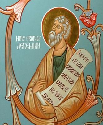 Sfântul Prooroc Ieremia a fost unul dintre cei patru mari prooroci ai Vechiului Testament (alături de Isaia, Iezechiel și Daniel). Şi-a desfășurat activitatea în secolele VII-VI î.Hr., timp de 40 de ani, sub domnia a cinci regi: Iosia (17 ani), Ioahaz (3 luni), Ioiachim (11 ani), Iehonia (3 luni) și Sedechia (11 ani). A fost contemporan cu distrugerea Ierusalimului și deportarea poporului ales în exil în Babilon (597 î.Hr.). Biserica Ortodoxă îl prăznuiește la 1 mai - foto: doxologia.ro