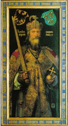 Carol cel Mare (n. 742/748 - † 28 ianuarie 814, Aachen), rege al francilor din 768 până la moarte, și fondator al Imperiului Carolingian - foto - ro.wikipedia.org