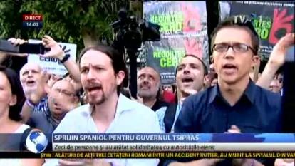 Manifestaţie la Madrid de susţinere a guvernului Tsipras - foto - stiri.tvr.ro