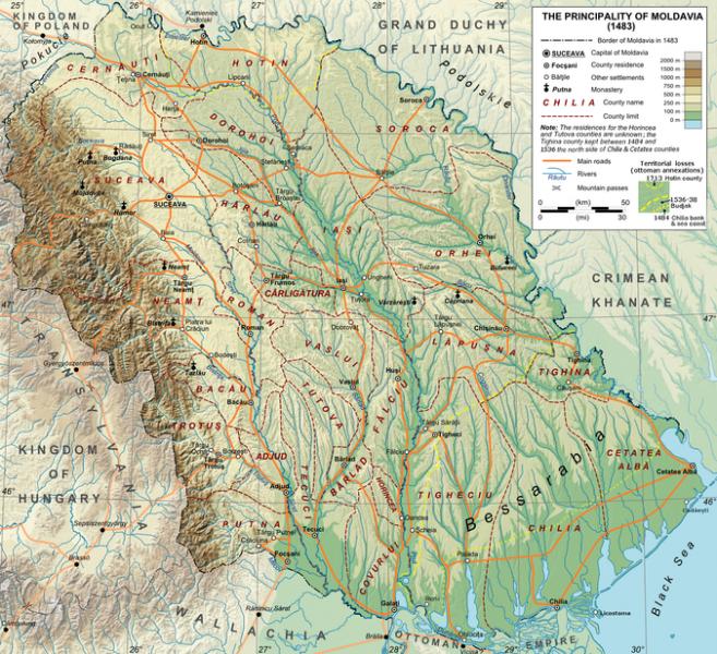Voievodatul Moldovei în 1483 - foto: ro.wikipedia.org