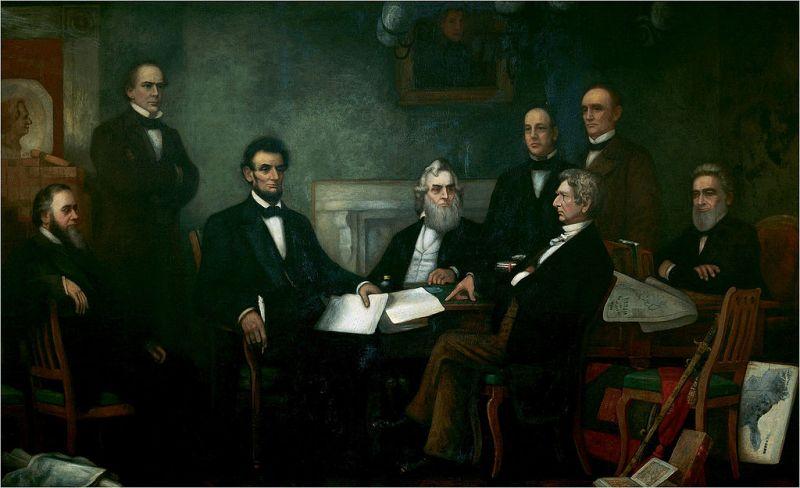 Lincoln prezintă cabinetului său prima propunere a Proclamării de emancipare. Pictură de Francis Bicknell Carpenter(en) din 1864 - foto: ro.wikipedia.org