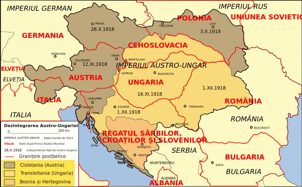 Apariţia noilor state independente şi reîntregirea celor deja existente după dezintegrarea Austro-Ungariei şi semnarea Tratatului de la Trianon - foto: ro.wikipedia.org