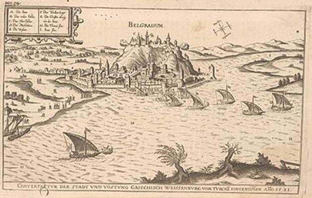 Asediul Belgradului – Bătălia de la Belgrad (4 – 22 iulie 1456) - Cetatea Belgradului (Nándorfehérvár) în Evul Mediu. Sunt vizibile etajările orașului, precum și palatul - foto preluat de pe ro.wikipedia.org