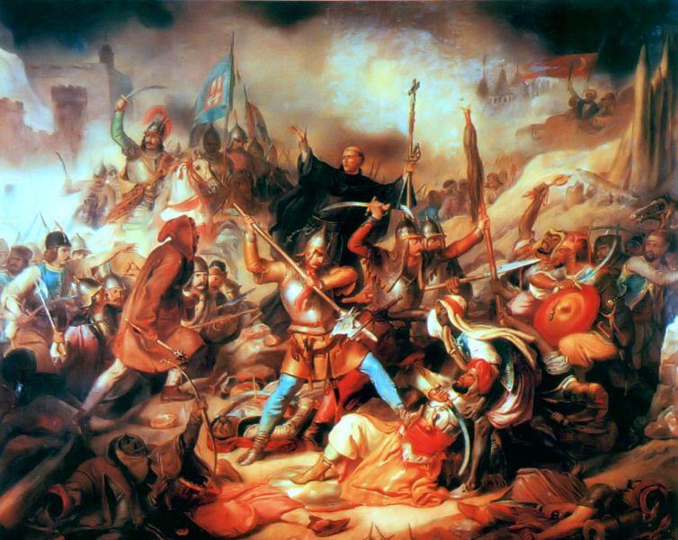 Bătălia de la Belgrad (4 - 22 iulie 1456), pictură maghiară din secolul XIX. În mijloc se află Giovanni da Capistrano ridicând crucea - foto: ro.wikipedia.org