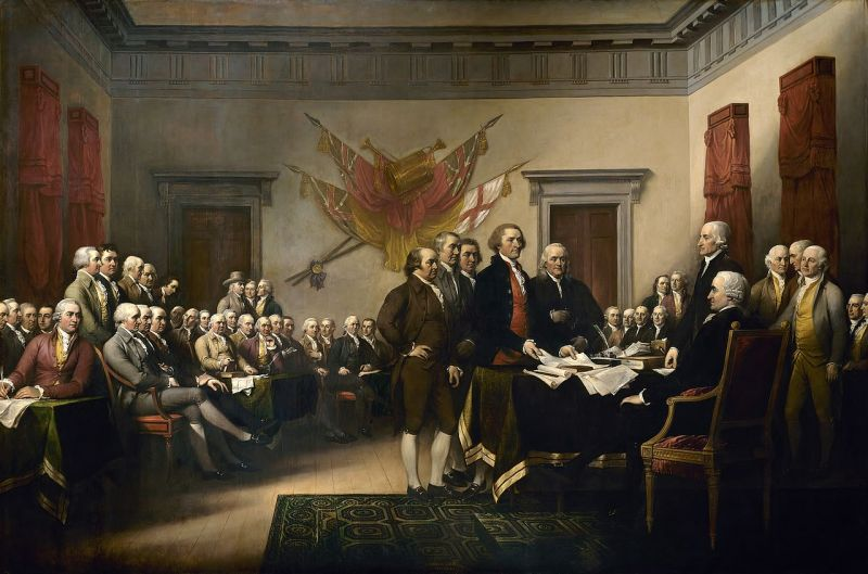 Pictură faimoasă a lui John Trumbull, adesea identificată ca o reprezentare a semnării Declarației, dar arată, de fapt, comitetul de redactare care prezintă lucrările sale Congresului - foto preluat de pe ro.wikipedia.org