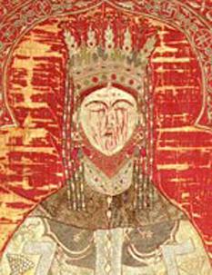 Maria din Mangop sau Maria Paleologu (? - 1477) (sau Maria Asanina Paleologhina în limba slavonă, pe o icoană donată de ea mănăstirii Grigoriu din Muntele Athos), principesă de Theodoro (un principat grecesc din Crimeea) a doua soție a domnitorului Ștefan cel Mare - foto (extras de pe acoperământul de mormânt de la mânăstirea Putna) - ro.wikipedia.org