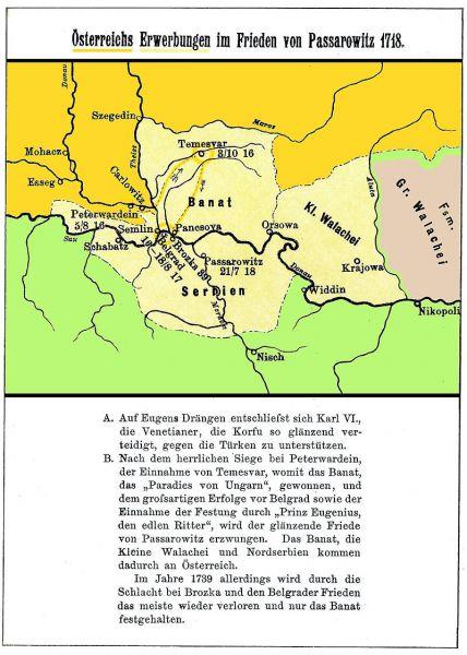 Teritoriile atribuite Habsburgilor în urma tratatului de la Pojarevăț (21 iulie 1718) - foto: ro.wikipedia.org