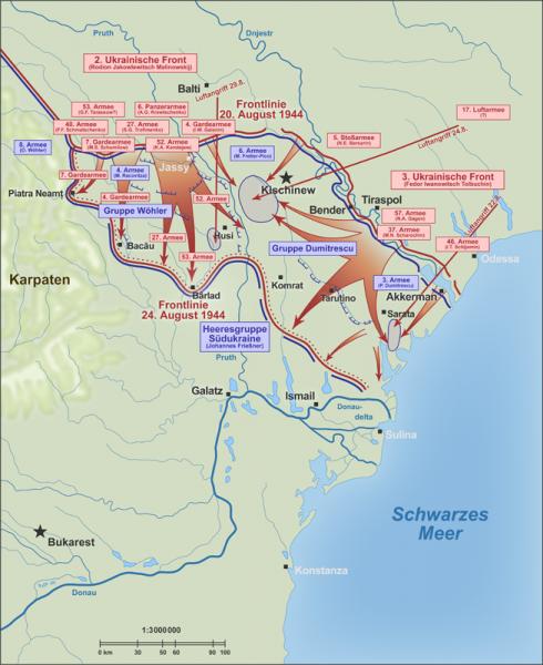 Operațiunea Iași-Chișinău Parte a luptelor de pe Frontul de Răsărit al celui de-al Doilea Război Mondial. Situația frontului din Moldova în august 1944 - foto: ro.wikipedia.org