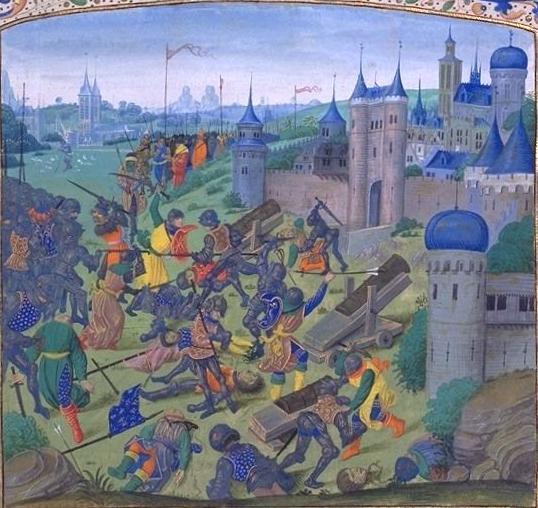Bătălia de la Nicopole - (25 septembrie 1396) Parte din Războaiele otomane din Europa - Miniatură din cronica lui Jean Froissart, 1398 - foto preluat de pe ro.wikipedia.org