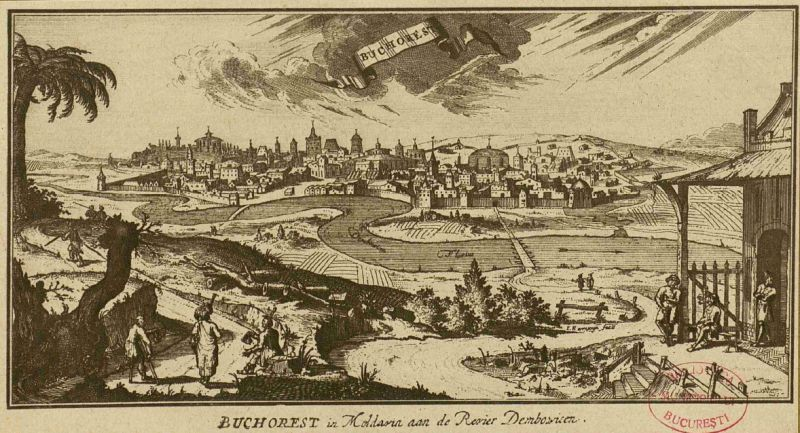 Bucuresti, secolul al XVII- lea (Bucharest, woodcut, published in Leipzig in 1717) foto: tiparituriromanesti.wordpress.com