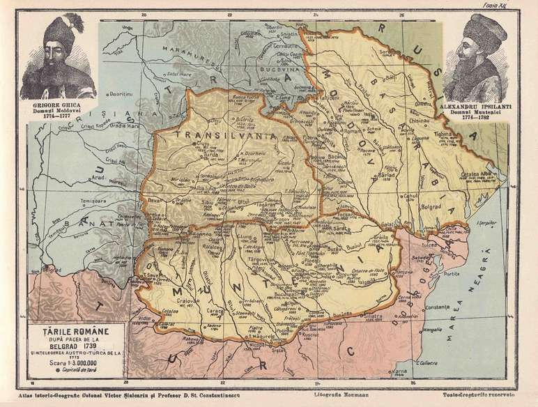 Tarile Romane dupa pacea de la Belgrad (1739) Alexandru Ipsilanti (Muntenia, 1774-1782) si Grigore Ghica (Moldova, 1774-1777) - foto: adevarul2012.blogspot.ro