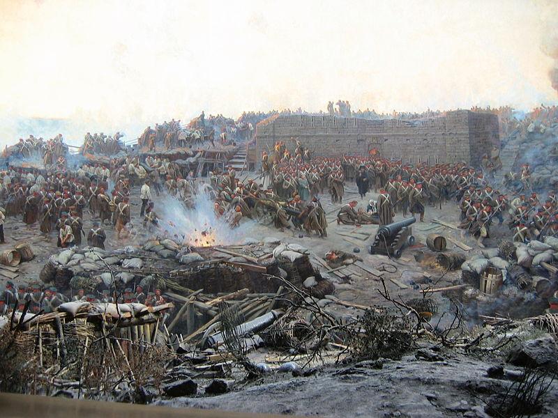 Războiul Crimeii (1853–1856) -Detail of Franz Roubaud's panoramic painting The Siege of Sevastopol (1904) - foto preluat de pe en.wikipedia.org