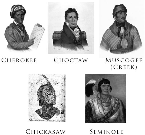 Cele cinci triburi civilizate au fost cinci națiuni amerindiene: cherokee, chickasaw, choctaw, creek și seminole. Portretele au fost elaborate/pictate între 1775 şi 1850. - foto: ro.wikipedia.org