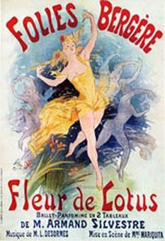 Jules Chéret, Folies Bergère, Fleur de Lotus, 1893 Art Nouveau poster for the Ballet Pantomime - foto: en.wikipedia.org