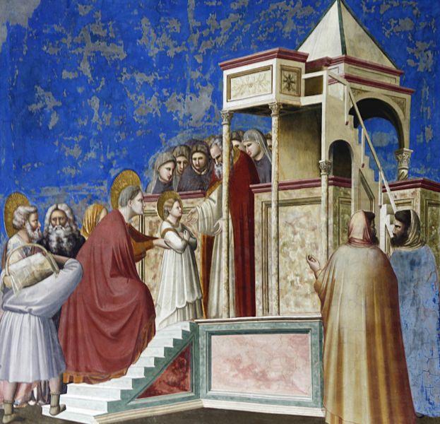 """""""Aducerea Fecioarei Maria în Templul din Ierusalim"""" de Giotto - foto: ro.wikipedia.org"""