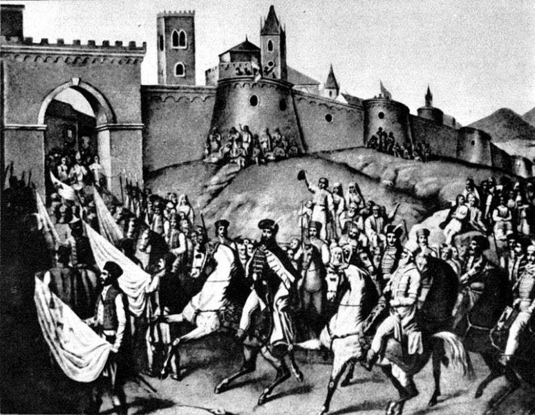 """""""Intrarea lui Mihai Viteazul în Alba Iulia"""" (1 noiembrie 1599) - Constantin Lecca - foto preluat de pe ro.wikipedia.org"""