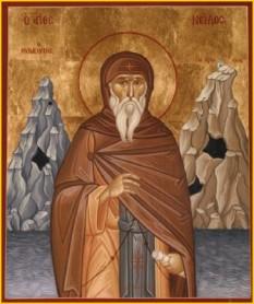 Sfântul Nil Ascetul sau Nil Pustnicul este un ascet creştin care a trăit în secolul al V-lea, a fost stareţ al Mănăstirii Sfânta Ecaterina din Muntele Sinai şi autor al unor tratate de spiritualitate. Prăznuirea sa se face pe 12 noiembrie - foto: calendar-ortodox.ro