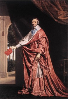Armand-Jean I. du Plessis de Richelieu, intrat în istorie cu numele de Cardinalul Richelieu, (n. 9 septembrie 1585 în palatul Richelieu, departamentul Indre-et-Loire; d. 4 decembrie 1642 în Paris), cleric, nobil și om politic francez - foto (Portret al Cardinalului Richelieu, 1637, de Philippe de Champaigne):  ro.wikipedia.org