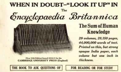"""Publicitate din anul 1913 pentru a 11-a ediție, cu sloganul """"Când ai dubii - caută în Encyclopædia Britannica"""" - foto:  ro.wikipedia.org"""