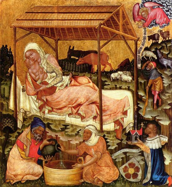 Medieval miniature painting of the Nativity by the Master of Vyšší Brod, c. 1350 - foto: en.wikipedia.org