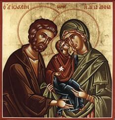 Sfinții și drepții Ioachim și Ana sunt părinții Maicii Domnului, bunicii lui Iisus Hristos. Prăznuirea lor are loc în 9 septembrie, a doua zi după Nașterea Maicii Domnului, iar adormirea Sfintei Ana se prăznuiește în 25 iulie - Sfinții Ioachim și Ana, cu fiica lor, Pururea Fecioara Maria - foto preluat de pe ro.orthodoxwiki.org