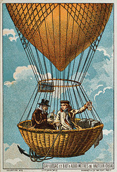 Gay-Lussac and Biot ascend in a hot air balloon, 1804. Illustration from the late 19th century - foto: en.wikipedia.org