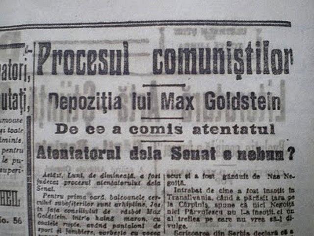 Depoziţia lui Max Goldstein privitoare la Atentatul terorist din Senatul României  în presa vremii - foto: en.wikipedia.org