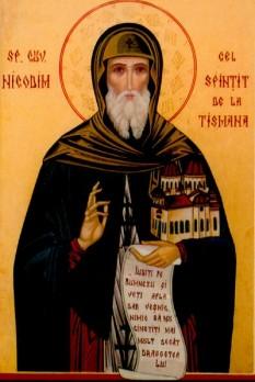 Sfântul Cuvios Nicodim de la Tismana (n. circa 1320?, Prilep, d. 26 decembrie 1406, Tismana), a fost călugăr și arhimandrit, întemeietorul mănăstirilor Vodița și Tismana din Oltenia și a mănăstirii Vișina pe valea Jiului. Pentru tot ce a făcut pentru ortodoxie și neamul românesc este considerat ocrotitorul Olteniei. Prăznuirea lui se face la 26 decembrie - foto: basilica.ro