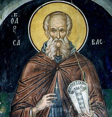"""Sfântul Cuvios Sava cel Sfințit a fost un monah din Palestina care, conform tradiției, a alcătuit primul tipic (regulă) monahală de organizare a slujbelor bisericești de peste an, așa-numitul """"Tipic de la Ierusalim"""". A fost un reorganizator important al monahismului prin modelul mănăstirii sale, situată nu departe de Ierusalim S-a opus cu fermitate mișcărilor eretice monofizită și origenistă. Biserica îl pomenește pe 5 decembrie - foto: doxologia.ro"""