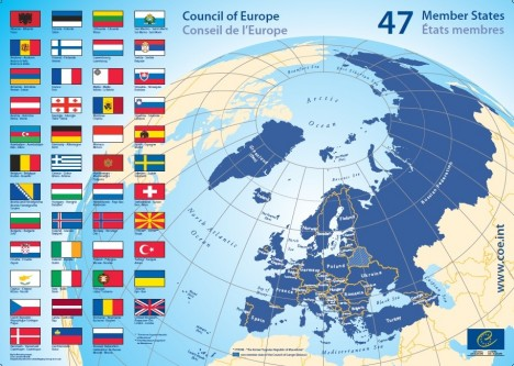 Statele membre ale Consiliului Europei - foto preluat de pe coe.mae.ro