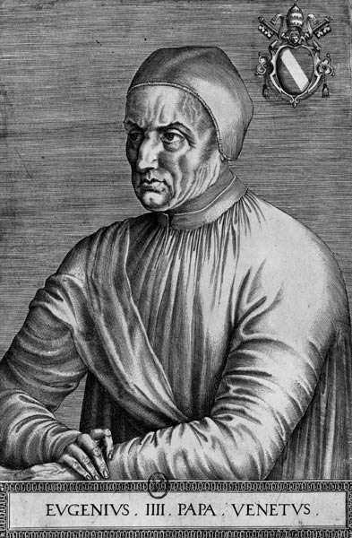 "Pope Eugene IV (Latin: Eugenius IV; 1383 – 23 February 1447), born Gabriele Condulmer, was Pope from 3 March 1431 to his death in 1447. He is the last pope to take the name ""Eugene"" upon his election - Portrait of Pope Eugenius IV, after Jean Fouquet - foto: en.wikipedia.org"