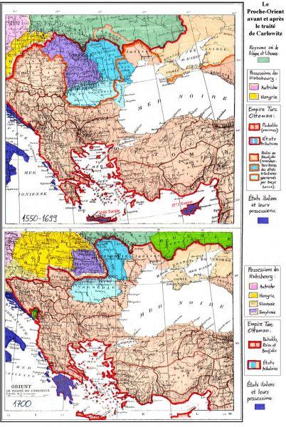 Tratatul de la Karlowitz (26 ianuarie 1699) - Europa de Sud-Est înainte și după tratatul de la Carlovița - foto preluat de pe ro.wikipedia.org