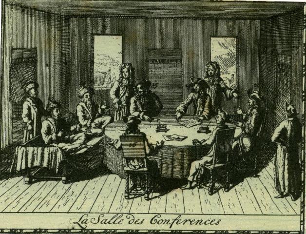 Tratatul de la Karlowitz (26 ianuarie 1699)-  Negocierea tratatului de pace de la Karlowitz (Sremski Karlovici), 1699 - foto preluat de pe istoria.md