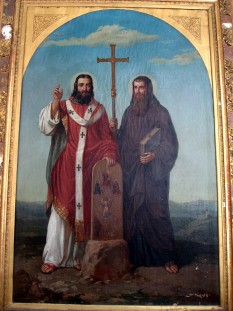 Sfântul Chiril (Ciril) (n. 826, Salonic - d. 14 februarie 869, Roma) a fost călugăr și misionar de origine grecească. Sfântul Chiril s-a născut la Salonic, a făcut studii temeinice la Constantinopol. Împreună cu fratele său, Sfântul Metodie, s-a dus în Moravia pentru a propovădui credința. Împreună au editat textele liturgice în limba slavonă, scrise în alfabetul care mai tîrziu a fost numit «chirilic». Introducerea limbii slavone în cult a întâmpinat rezistență din partea episcopilor apuseni, dar Papa Adrian al II-lea a intervenit în favoarea lui Chiril și a lui Metodie. Fiind chemați la Roma, Sfântul Chiril a murit acolo la 14 februarie 869, iar Sfântul Metodie a fost sfințit episcop, apoi s-a dus în Panonia pe care a evanghelizat-o cu neobosită râvnă. Sfântul Metodie a avut mult de suferit din partea dușmanilor, dar a fost sprijinit de pontifii romani. Pentru a onora personalitățile lui Chiril și Metodie, asteroidul descoperit pe 9 august 1978 de către astronomii sovietici L.I. Cernîh și N.C. Cernîh la Observatorul Astronomic Naucinîi din Crimeea a fost numit 2609 Kiril-Metodi. Sfântul Chiril-Constantin și Sfântul Metodie sunt pomeniți în Sinaxar în luna mai, ziua a unsprezecea : Tot în această zi, pomenirea sfinților părinților noștri, cei întocmai cu apostolii, Chiril-Constantin și Metodie, care au adus lumina Evangheliei popoarelor slave, în veacul al nouălea - in imagine, Sfintii Chiril (dreapta) și Metodiu (stânga) - foto: ro.wikipedia.org