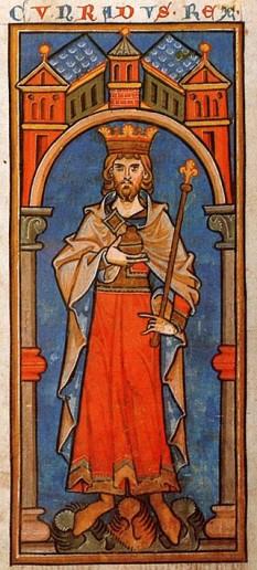 Conrad al III-lea al Germaniei (n. 1093, Bamberg – d. 15 februarie 1152, Bamberg) a fost primul rege al Germaniei aparținând dinastiei de Hohenstaufen. El a fost fiul lui Frederic I, duce de Suabia, cu soția sa, Agnes, una dintre fiicele împăratului Henric al IV-lea - in imagine, Regele Conrad al III-lea (Cunradus rex) într-o miniatură din secolul al XIII-lea - foto: ro.wikipedia.org