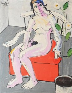 """Constantin Piliuta - """"Nude with Flower"""" - foto: wikiart.org"""