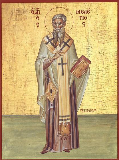 Cel întru sfinți părintele nostru Meletie al Antiohiei, a fost un episcop ortodox al Antiohiei de la anul 361 și până la moartea sa în anul 381. Pentru sprijinul său ferm față de ortodoxia Sinodului I Ecumenic de la Niceea a fost exilat de trei ori sub împărații arieni. Unul dintre ultimele sale acte a fost de a prezida al doilea Sinod Ecumenic în 381. Prăznuirea sa se face la data de 12 februarie - in imagine, Sfântul Meletie, Arhiepiscopul Antiohiei celei Mari Icoană sec. XX, Grecia, Colecția Sinaxar la Sfinții zilei (icoanele litografiate se găsesc la Catedrala Mitropolitană din Iași) - foto: doxologia.ro