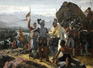 Tablou al lui Pedro Lira (1889), înfățișând fondarea orașului Santiago de Chile de către Pedro de Valdivia - foto: ro.wikipedia.org